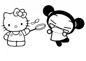 Kitty et Pucca font des crêpes coloriage