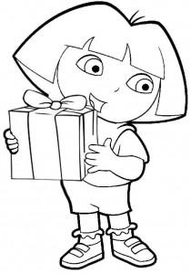 coloriage Dora et son beau cadeau